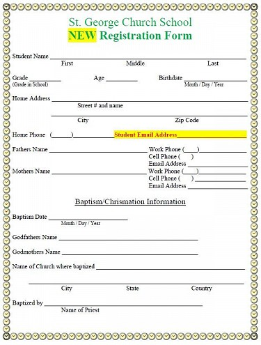 Click for Printable / Downloadable Registration